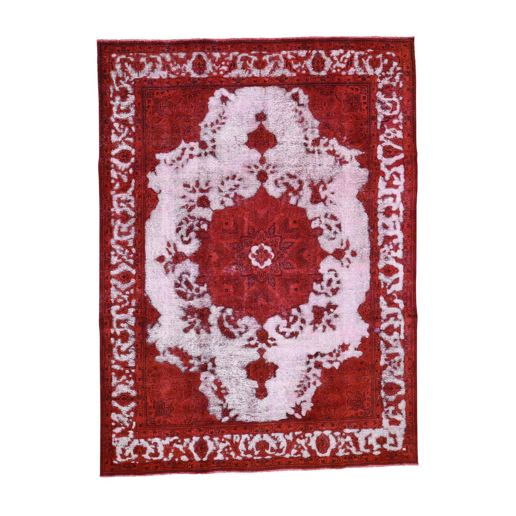 Fetneh Collection And Vintage Overdyed Collection Hand Knotted Red Rug No: 0192082