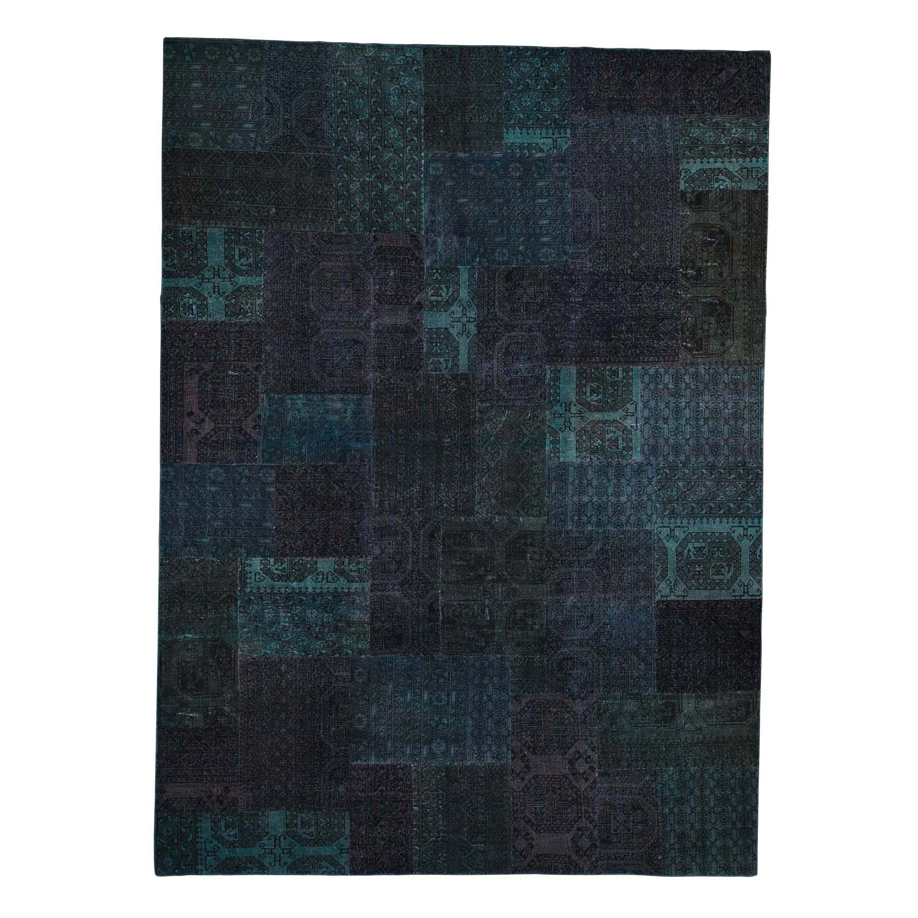 Fetneh Collection And Vintage Overdyed Collection Hand Knotted Green Rug No: 0192090