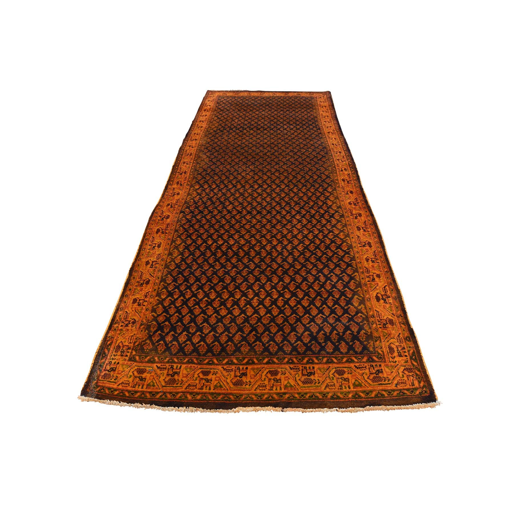 Fetneh Collection And Vintage Overdyed Collection Hand Knotted Brown Rug No: 177262