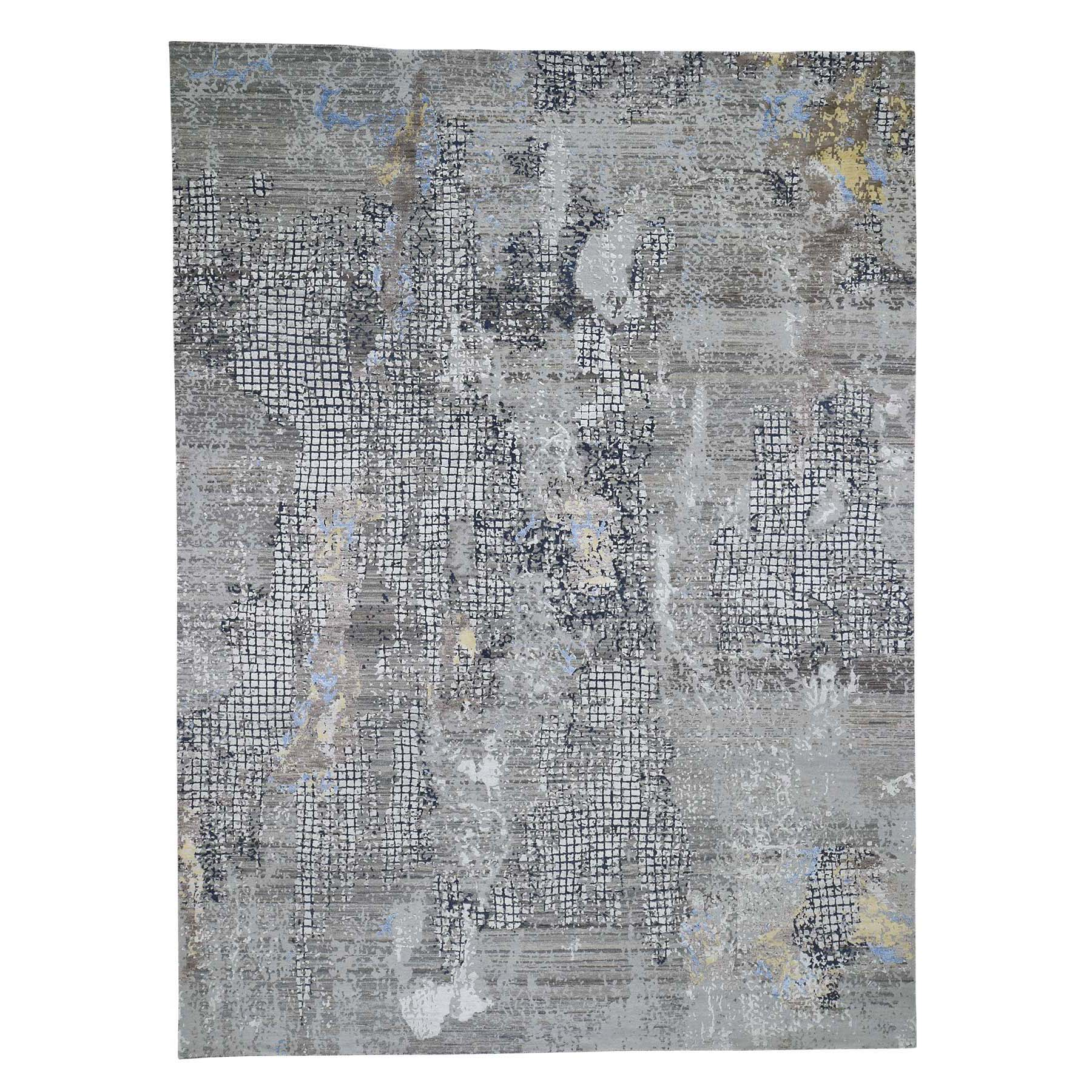Mid Century Modern Collection Hand Knotted Grey Rug No: 0192160