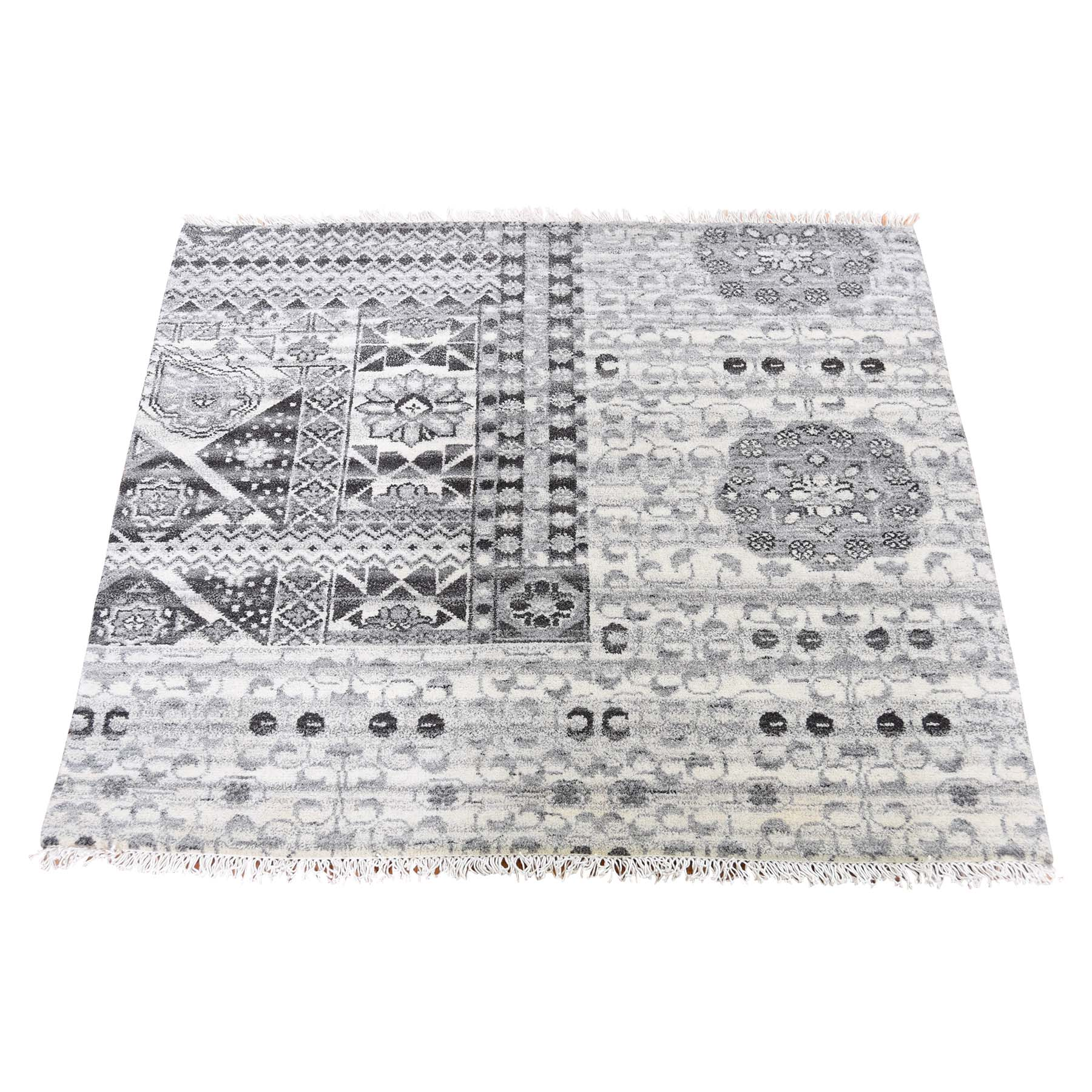 Intricate Collection Hand Knotted Grey Rug No: 191574