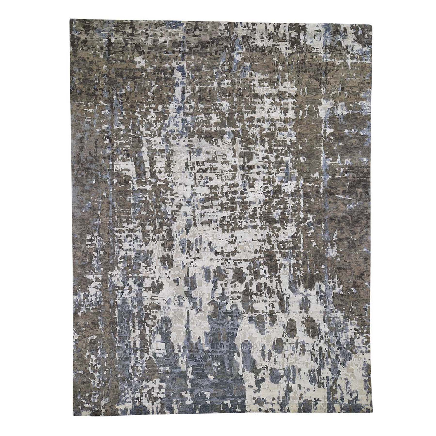 Mid Century Modern Collection Hand Knotted Ivory Rug No: 0192370