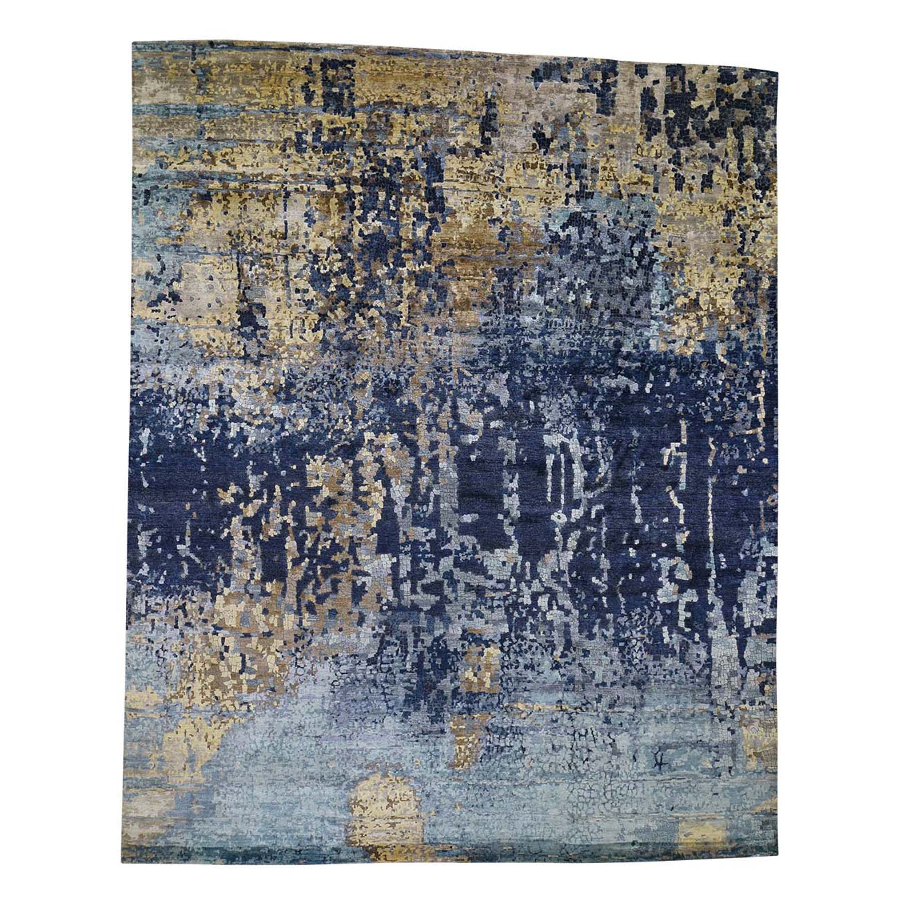 Mid Century Modern Collection Hand Knotted Blue Rug No: 0192396