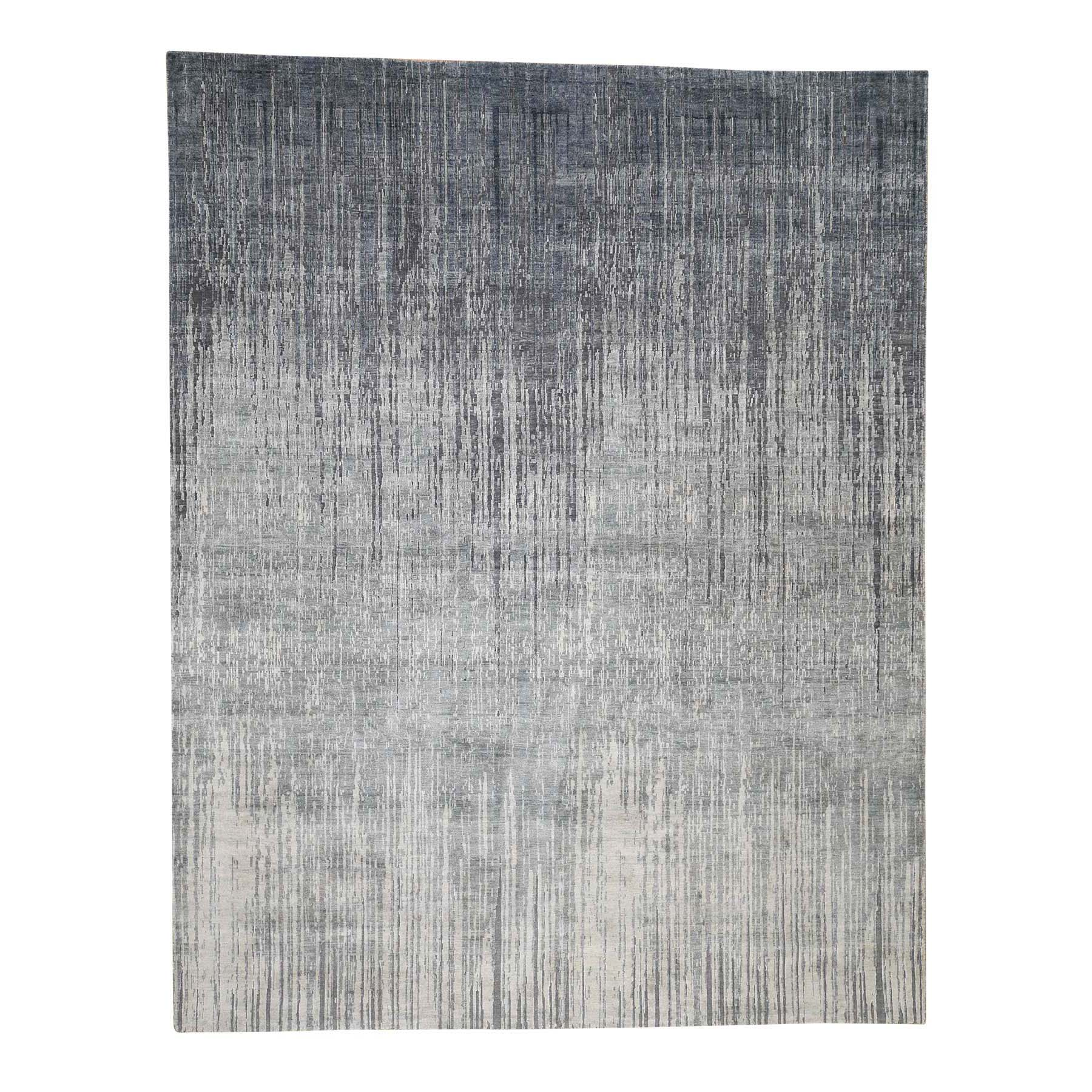Mid Century Modern Collection Hand Knotted Grey Rug No: 0186822