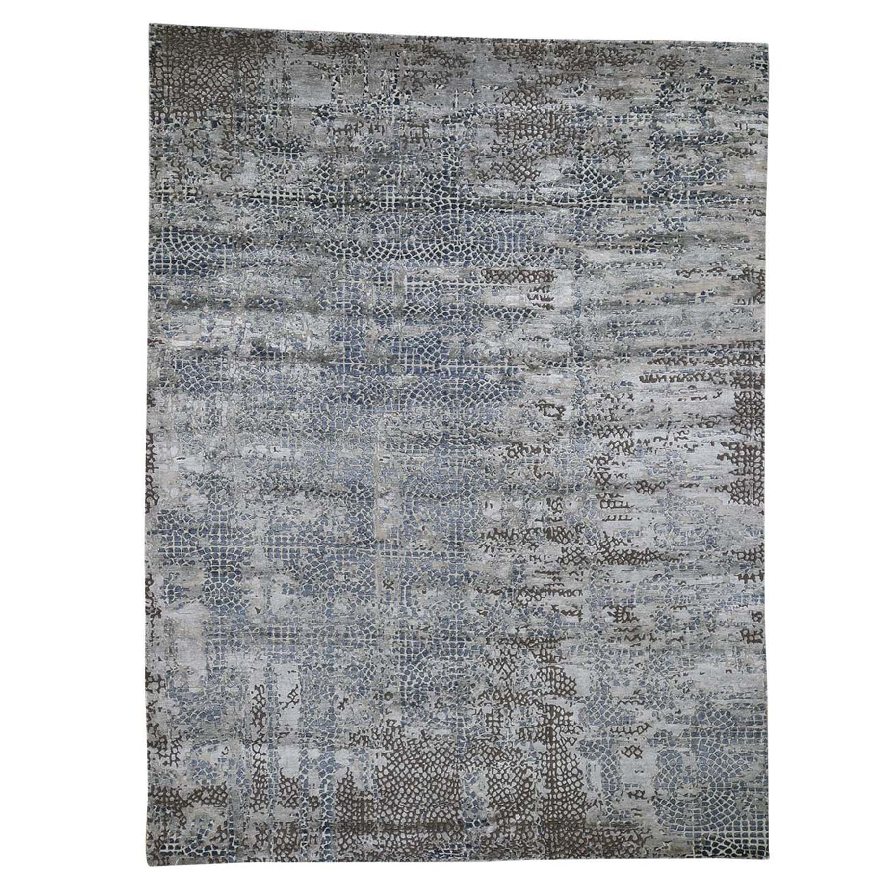 Mid Century Modern Collection Hand Knotted Beige Rug No: 0192450