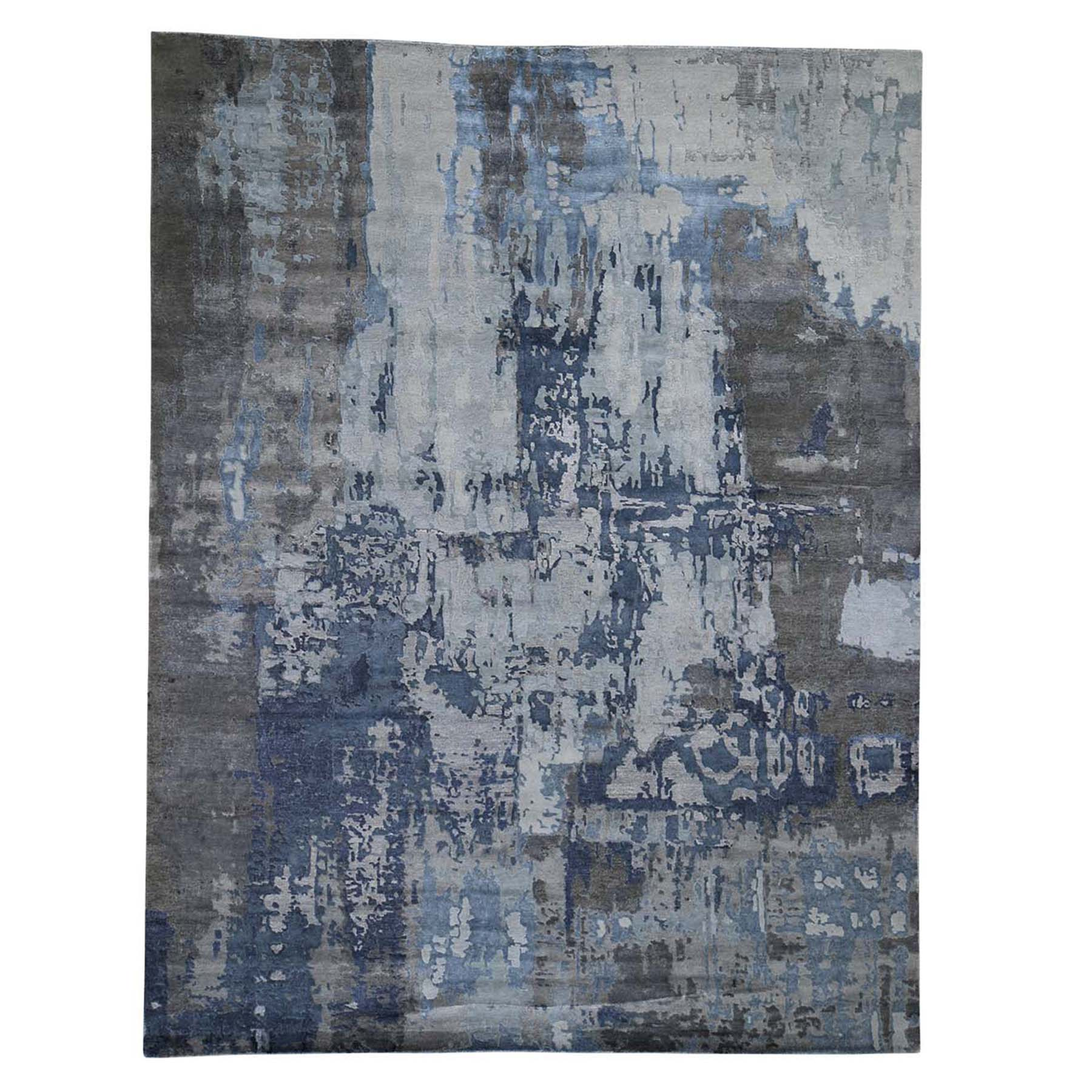 Mid Century Modern Collection Hand Knotted Grey Rug No: 0192458