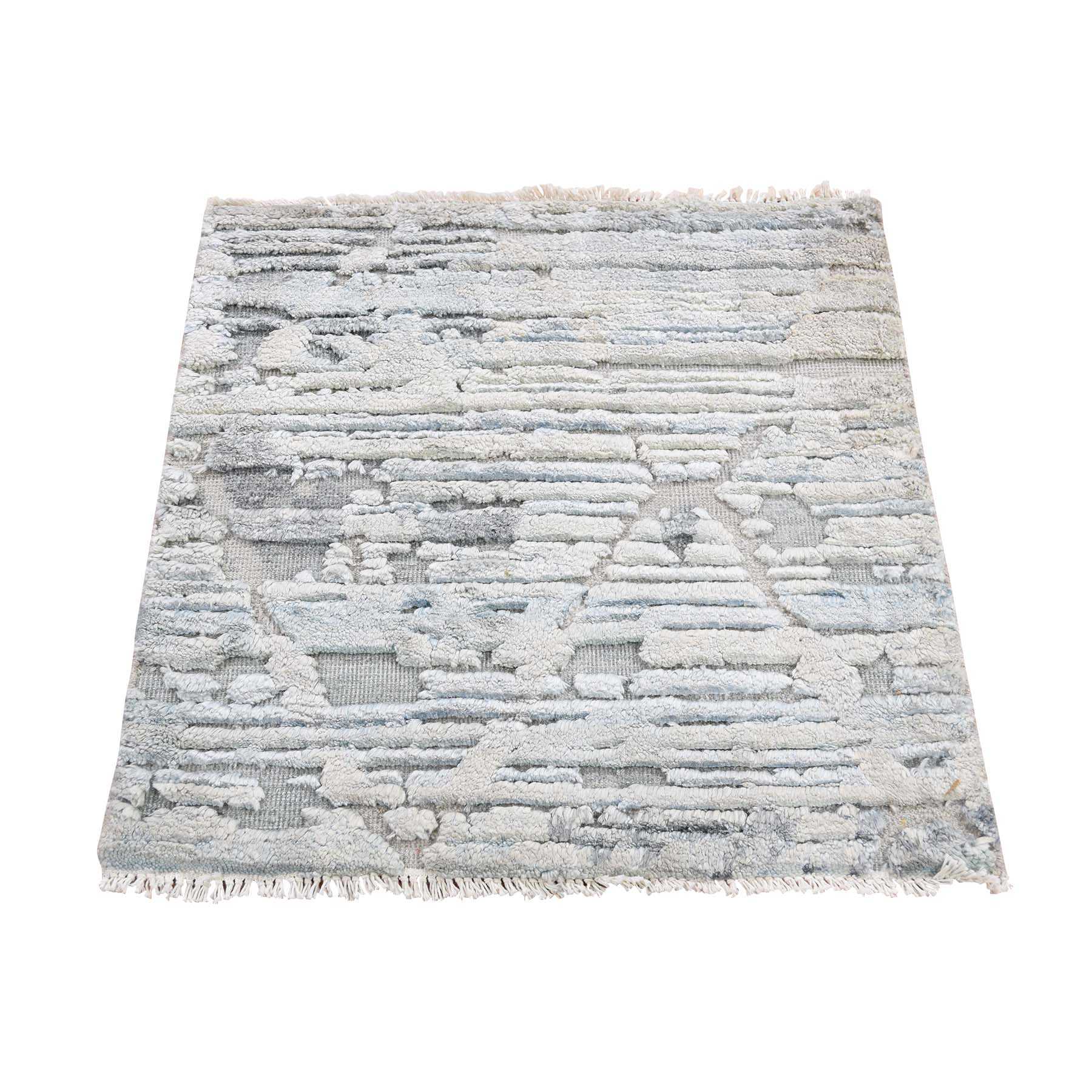 Mid Century Modern Collection Hand Knotted Ivory Rug No: 193450