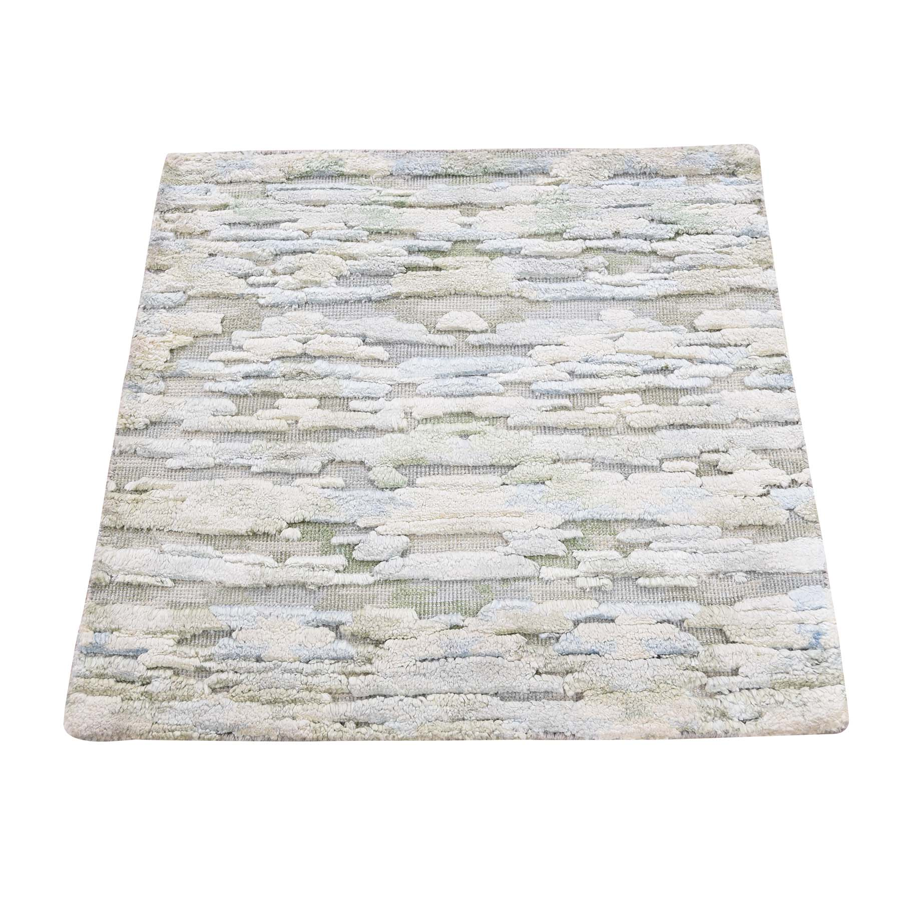 Mid Century Modern Collection Hand Knotted Ivory Rug No: 193452