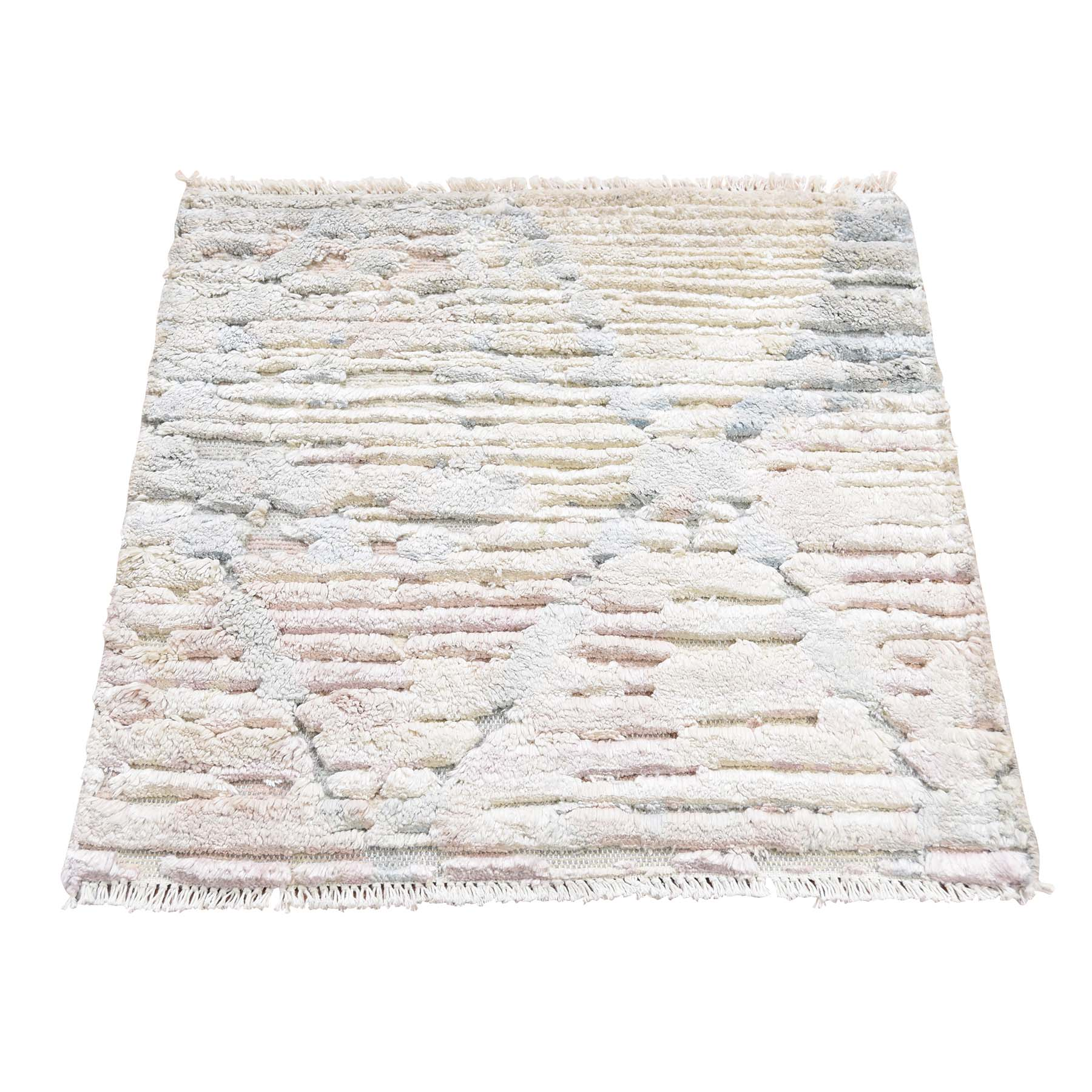 Mid Century Modern Collection Hand Knotted Ivory Rug No: 193456