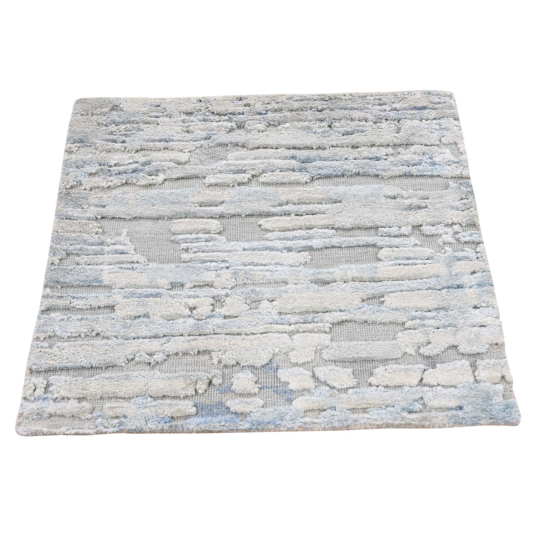 Mid Century Modern Collection Hand Knotted Blue Rug No: 193454