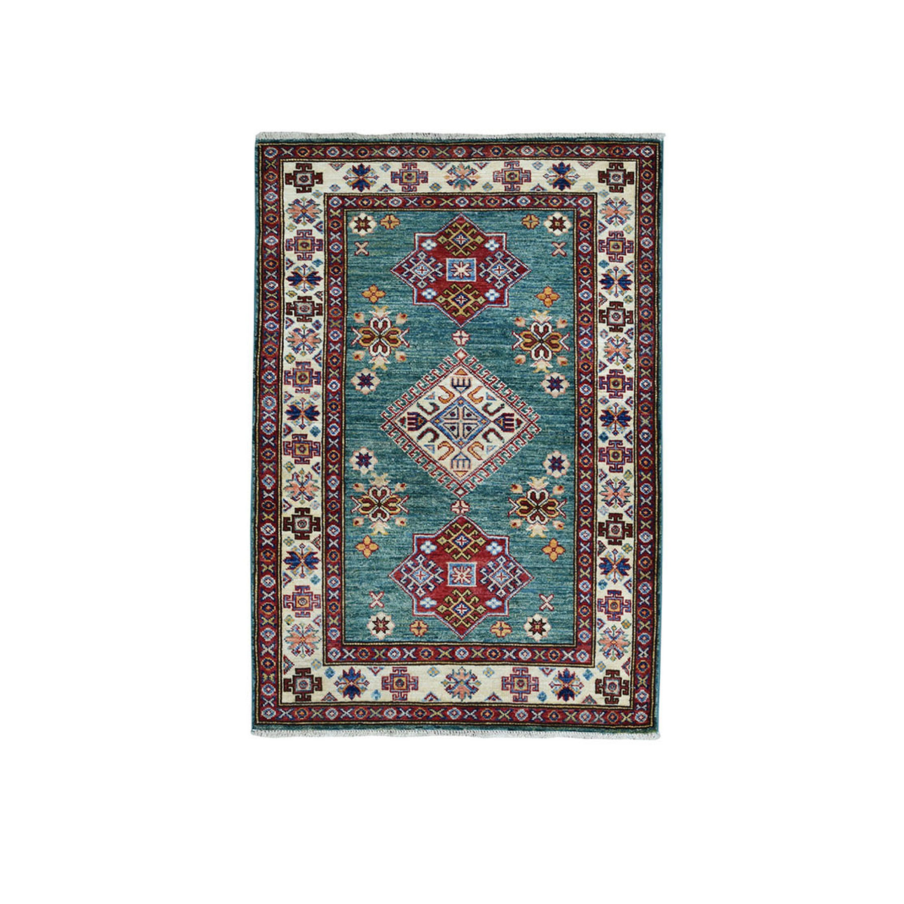 Caucasian Collection Hand Knotted Green Rug No: 01101886