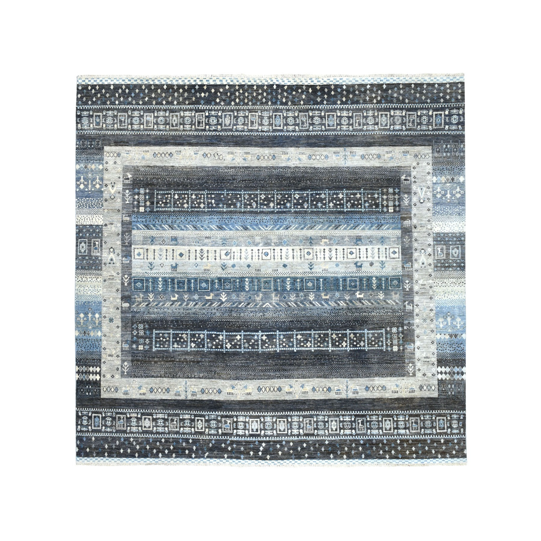 Nomadic And Village Collection Hand Knotted Grey Rug No: 1102414