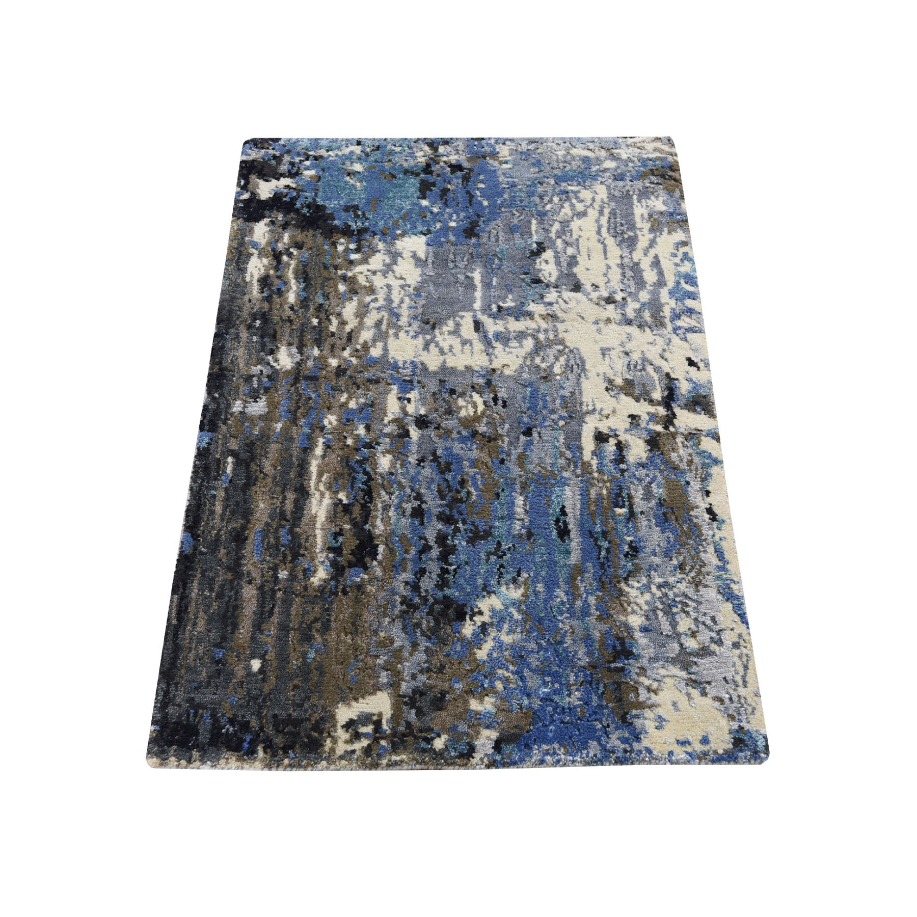 Mid Century Modern Collection Hand Knotted Blue Rug No: 193662