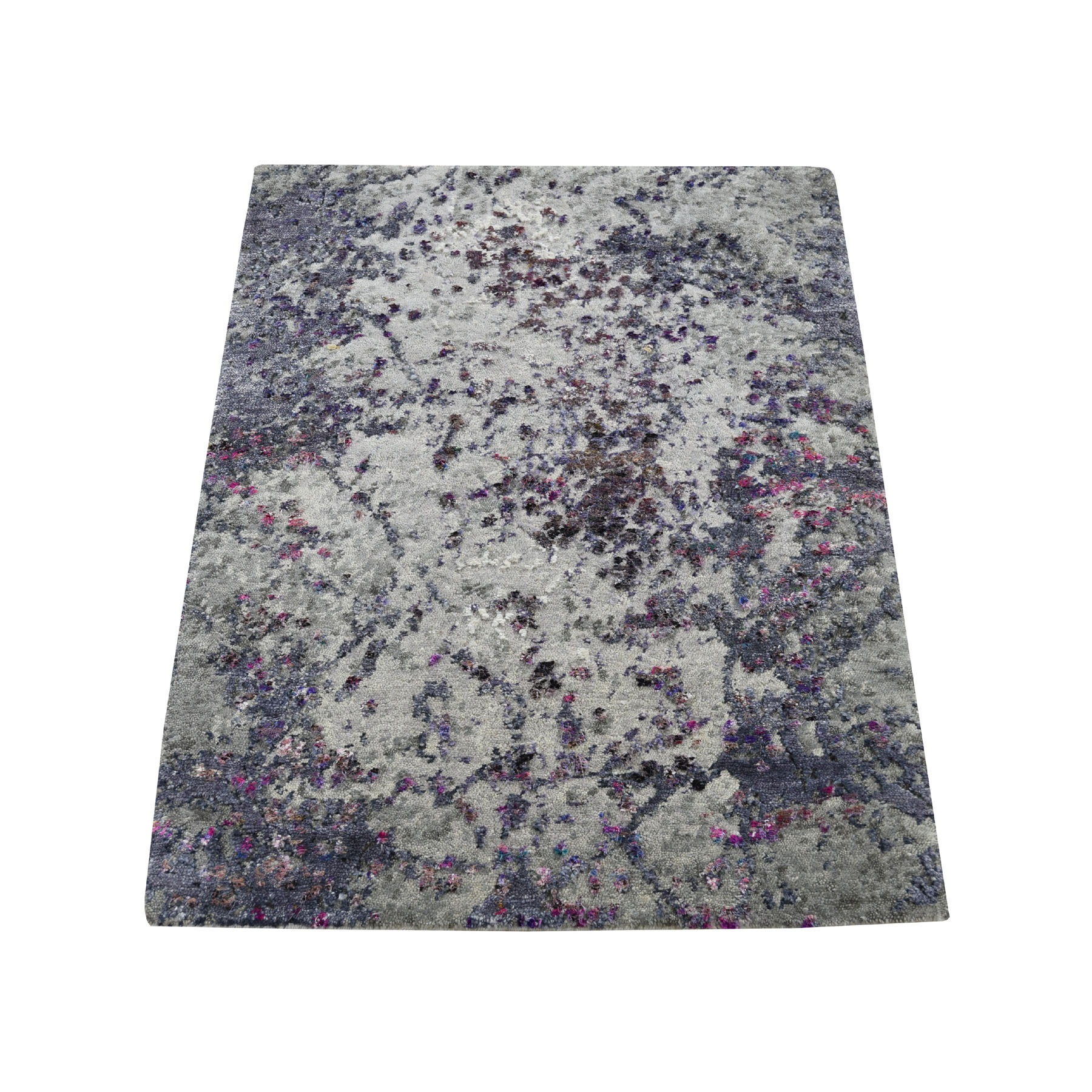 Mid Century Modern Collection Hand Knotted Grey Rug No: 193664