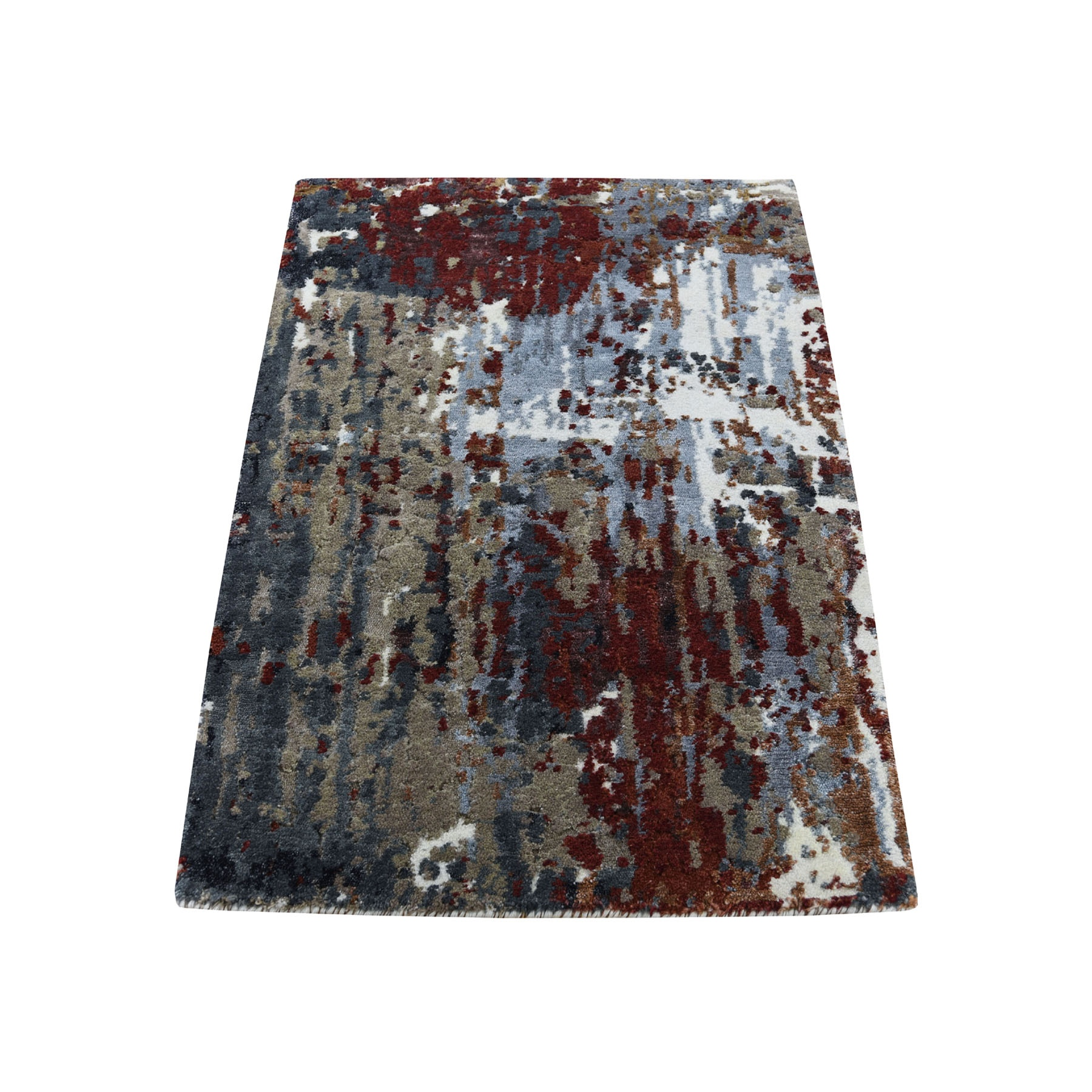 Mid Century Modern Collection Hand Knotted Red Rug No: 193668