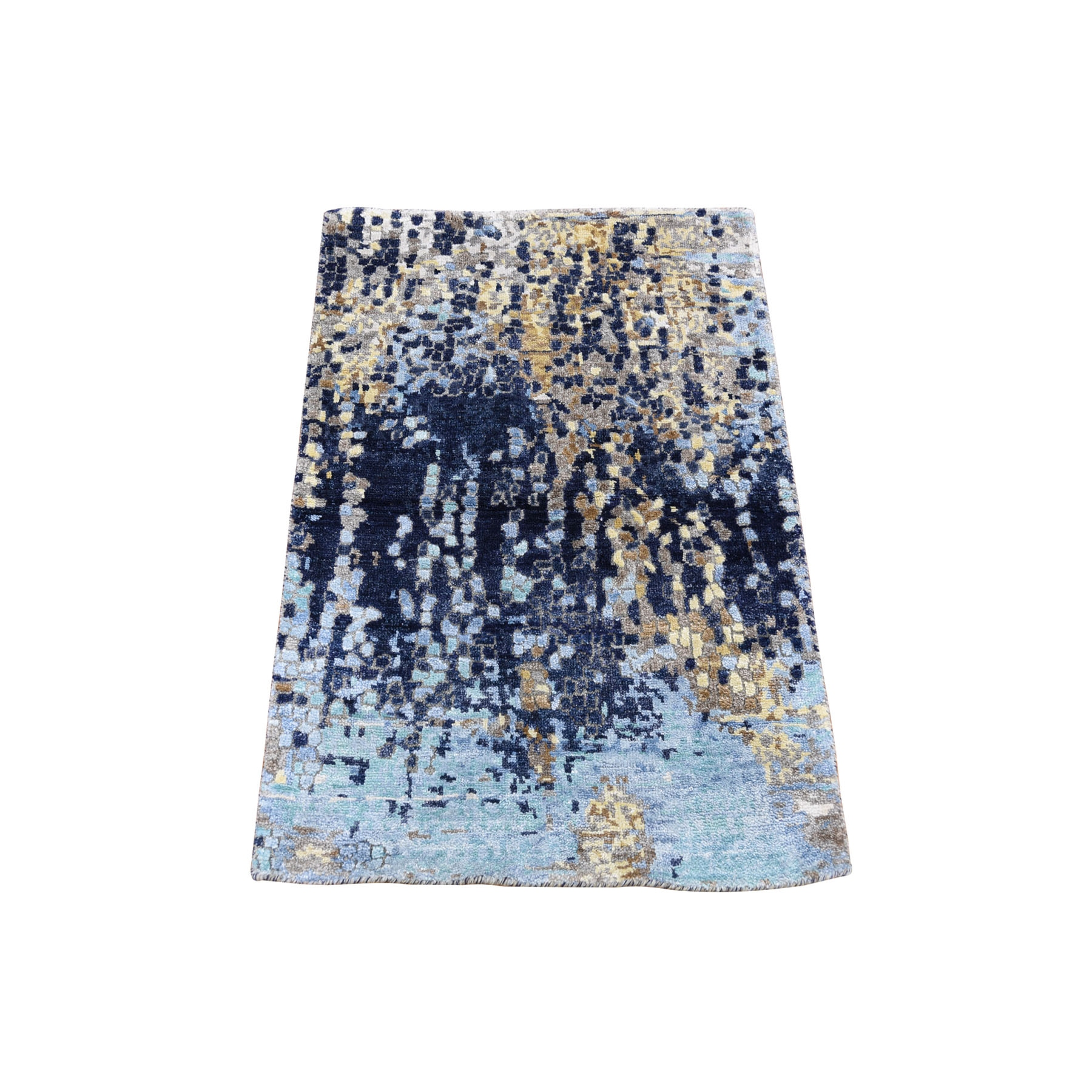 Mid Century Modern Collection Hand Knotted Blue Rug No: 193626