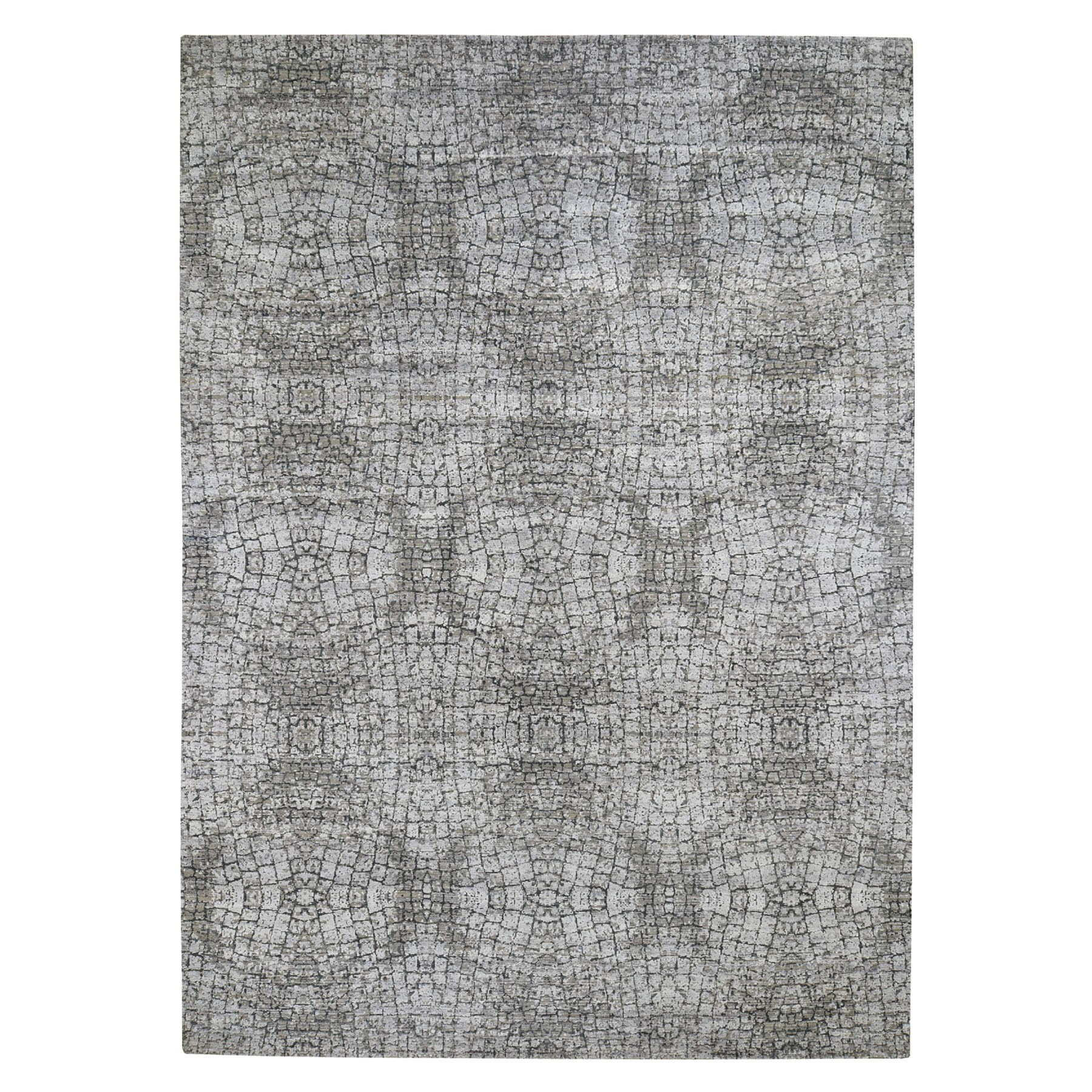 Real Silk Collection Hand Knotted Grey Rug No: 0193846