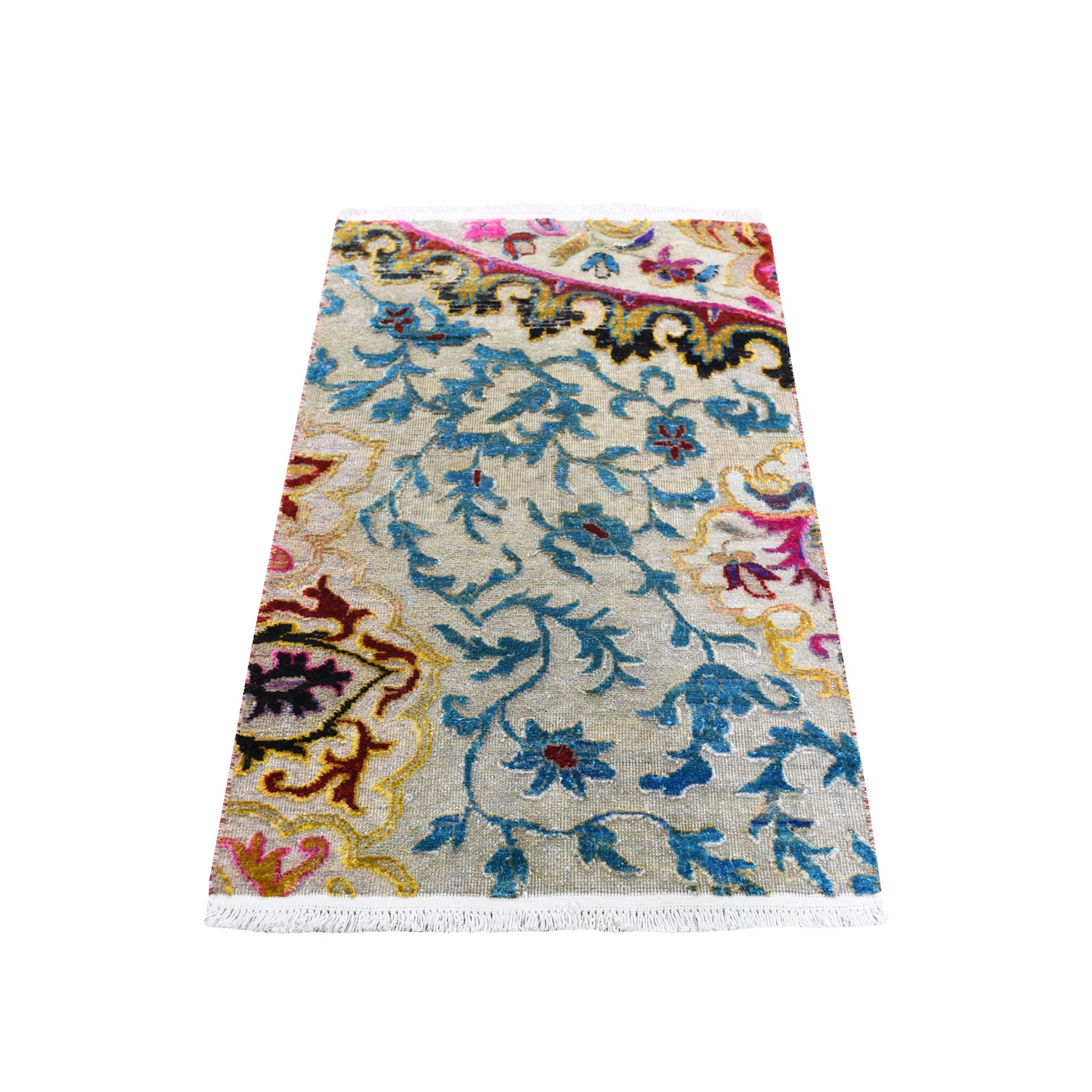 Wool and Real Silk Collection Hand Knotted Multicolored Rug No: 193922