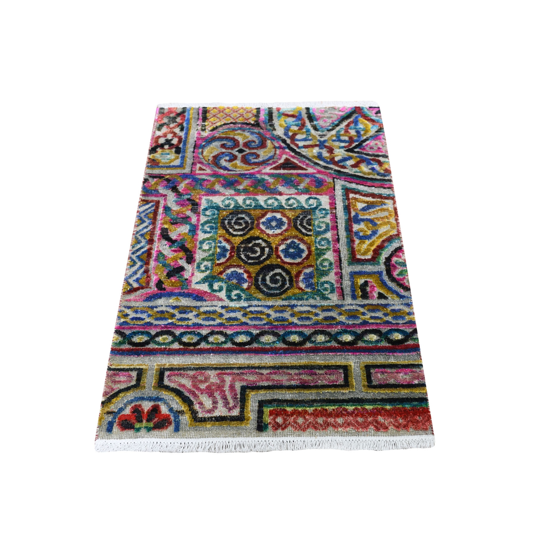 Real Silk Collection Hand Knotted Multicolored Rug No: 0193916