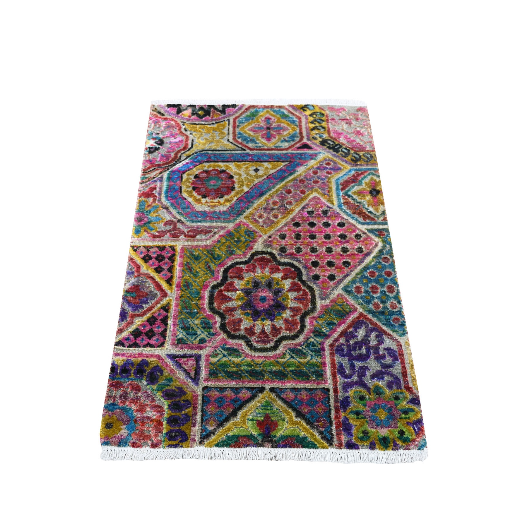 Real Silk Collection Hand Knotted Multicolored Rug No: 0193920