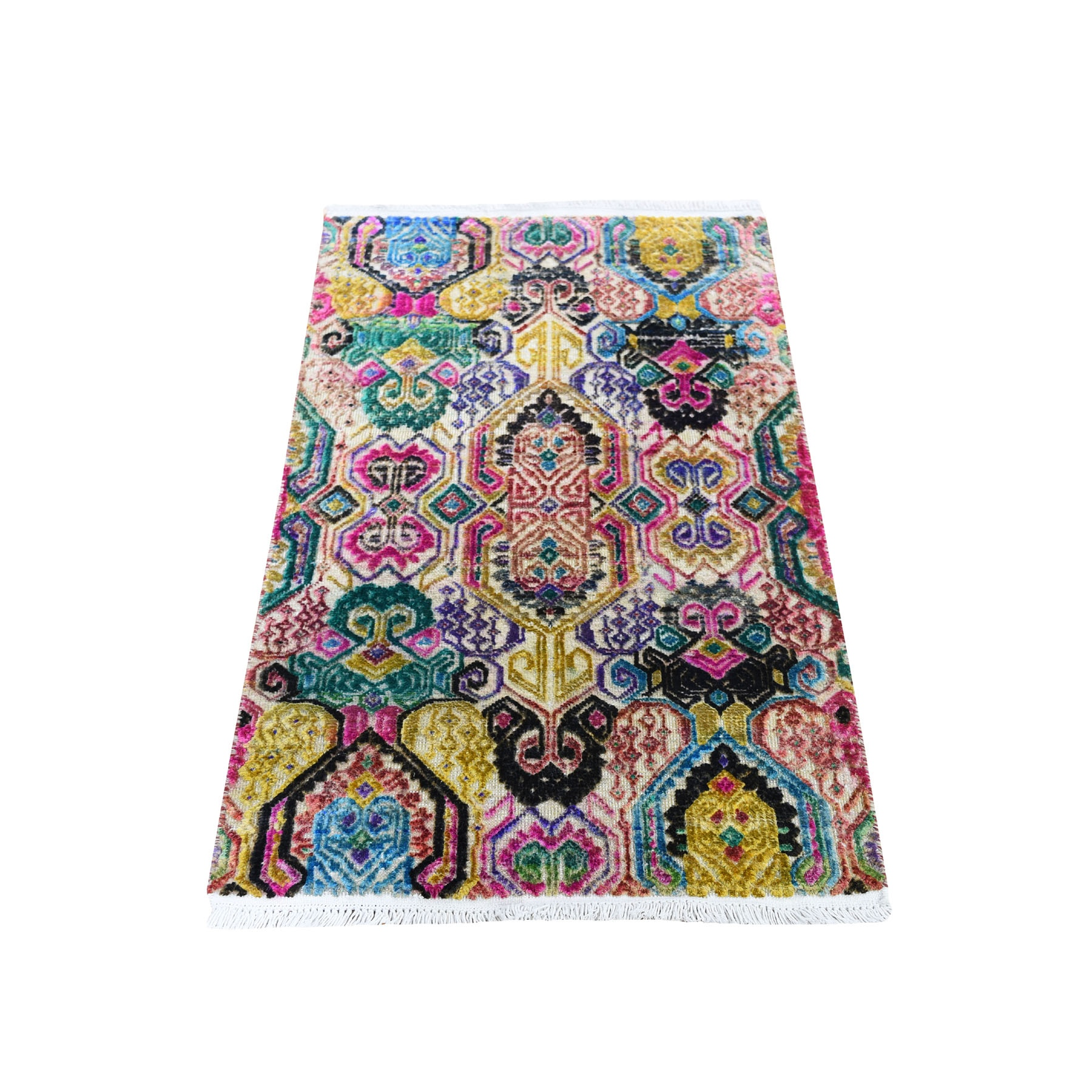 Real Silk Collection Hand Knotted Multicolored Rug No: 0193918