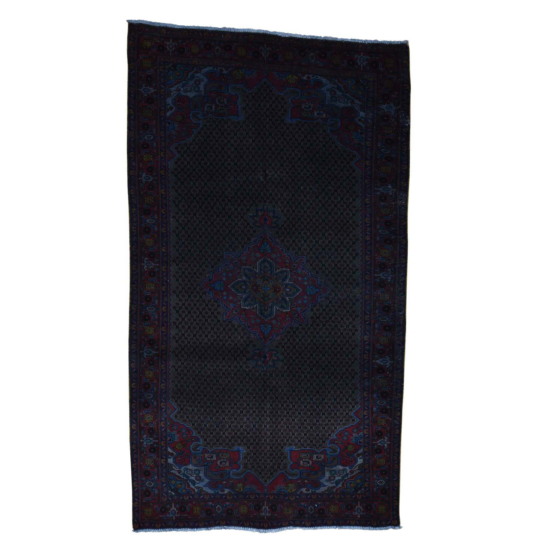 Fetneh Collection And Vintage Overdyed Collection Hand Knotted Black Rug No: 0179010
