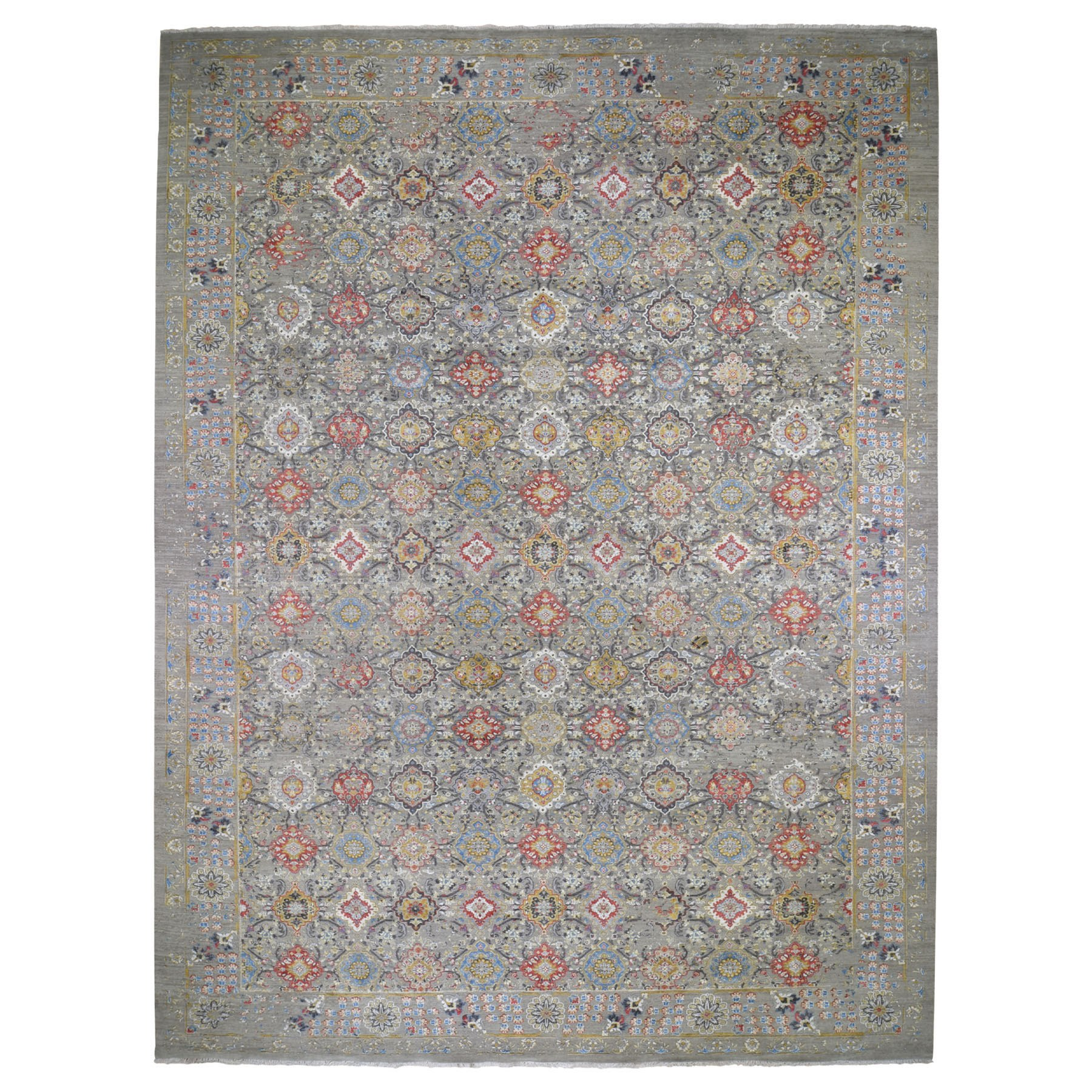 Transitional Hand Knotted Grey Rug No: 0194370