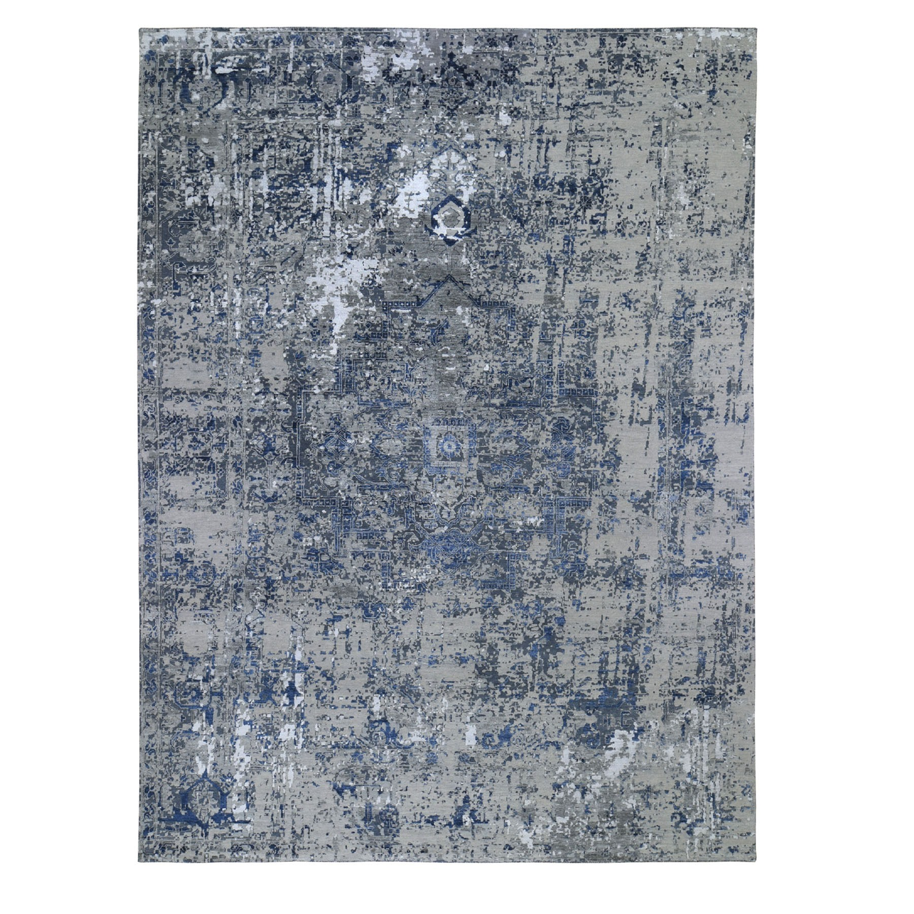 Transitional Hand Knotted Grey Rug No: 0194378