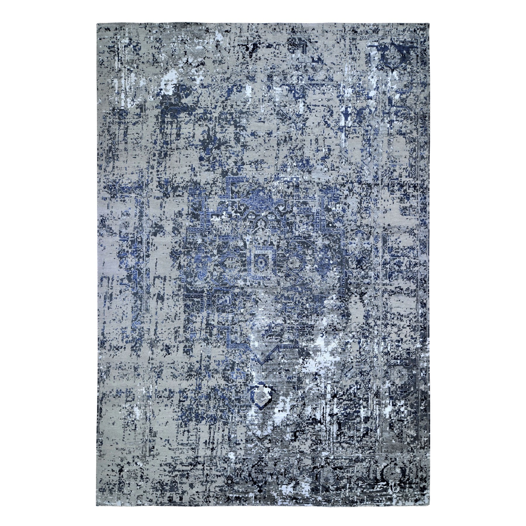 Transitional Hand Knotted Grey Rug No: 0194374